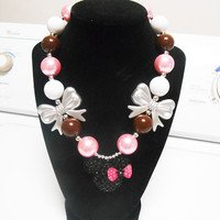Minnie Mouse Silver Hair bow Bubblegum Necklace