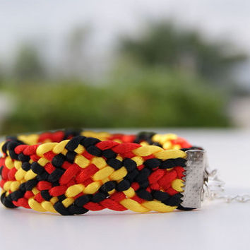 Kumihimo Flat Braided Bracelet. Friendship Bracelet. Black,  Red and Yellow Satin Cord Bracelet. Diamond Pattern Cuff. Men Bracelet.