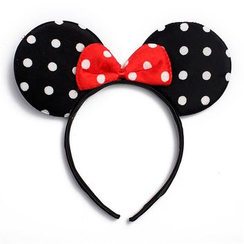 Black White Red Polka Dots Minnie Fashion Headband