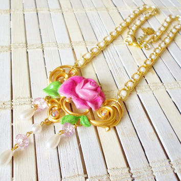 Upcycled Vintage Rose Necklace Beauty and the Beast Inspired Pink Gold Pearls Beaded Chain