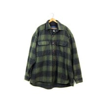 Vintage THICK WOOL Flannel Coat Green Black Plaid Hunting Work Shirt Jacket 90s Heavy Wool Coat Buffalo Check Rustic Field Jacket Mens Large