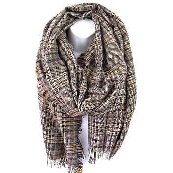 Taupe Navy Plaid Blanket Scarf