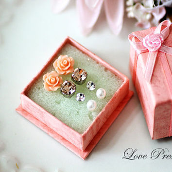 Gift Idea for her -  Swarovski Crystal/ Petite Rose/ Pearl Post studs Earrings set - Choose your color