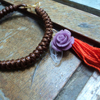 Boho Style Layered macrame and tassel bracelet, purple flower and orange tassel waxed cord knotted bracelet