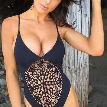 Black Poppy | Black Frankies Bikinis One Piece Swimsuit