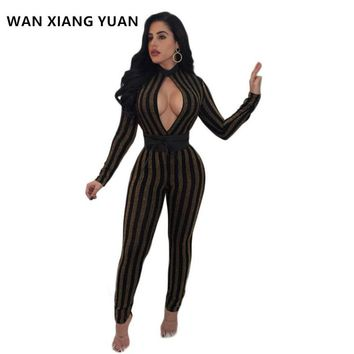 WANXIANGYUAN Jumpsuits for Women 2017 Autumn Sexy One Piece Outfits Jumpsuits Long Sleeve Bodycon Rompers Womens Jumpsuit 1128