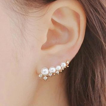 silver needle simulated pearl ear cuff earrings