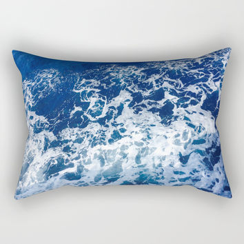 Sea Waves Rectangular Pillow by Jenna C.