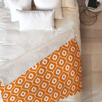 Aimee St Hill Leela Orange Fleece Throw Blanket