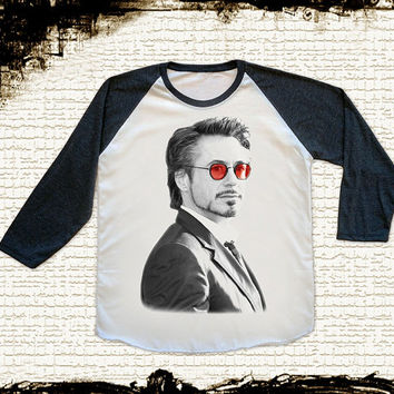 Size L -- RDJ Robert Downey Jr T Shirt Red Glasses Shirts Baseball Tee Jersey Raglan Long Sleeve Unisex Shirts Women Shirts