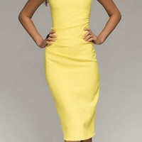 Yellow Short Sleeve Bodycon Dress