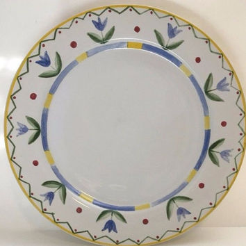 International Tableworks Stoneware Tulip Design 3 White Dinner Plates Ariel 11""
