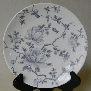 Soft Gray ish Silver Toile Roses Vintage English Transferware Plate Tapestry Adderley