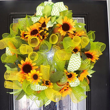 Summer Wreath, Summer, Spring Wreath, Sunflowers, Deco Mesh Wreath Ready To Ship