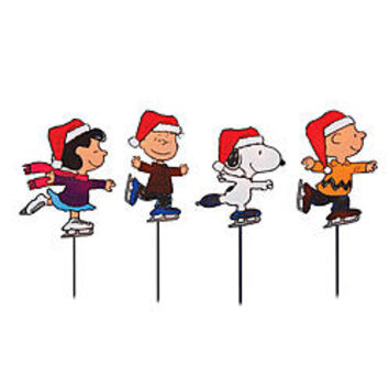 Peanuts Christmas Outdoor Decorations 2D 4 Pk Pathway Markers, 25 Lights, 8 in.