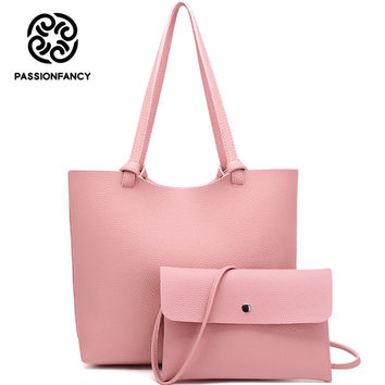 Latest Design Composite Bag PU Leather Shoulder + Crossbody Bags For Women 2017 High Quality Korean Solid female Hobo Handbags