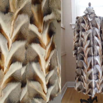 Vintage Coyote? Fox? Pieced Chevron Fur Coat Full Length