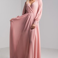 AKIRA Long Sleeve Plunging Neckline Tie Waist Maxi Dress in Mauve