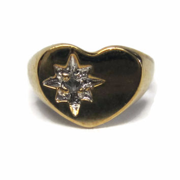 Tiny Vintage 10K Diamond Heart Ring Charm Pendant