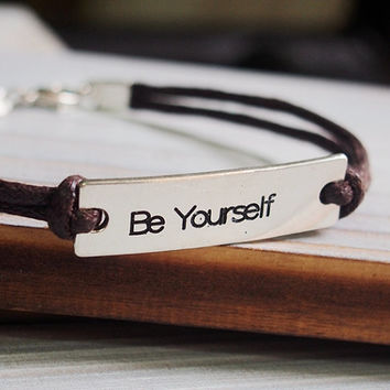 Engraved Quote Bracelet Inspiration Silver Mens Brown Leather Custom Metal