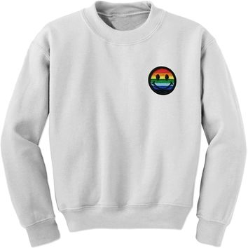 Embroidered Rainbow Pride Smile Face Patch (Pocket Print) Adult Crewneck Sweatshirt