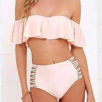 New Lotus lace Split Bikini Set Nice Pink Swimsuit