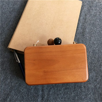 Dark Light wood clutches purse chain bag Wooden Jewelry cosmetics Evening Bag