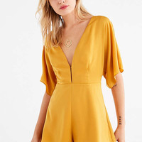 UO Satin V-Neck Backless Romper | Urban Outfitters