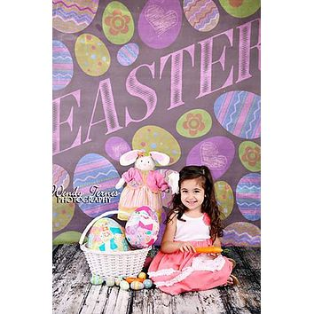 Easter Chalkboard Pastel Backdrop - 1480