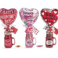 Valentine's Day Mason Jar With Candy and Balloon