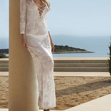 Sexy Swimwear Beach Knitting Straps Long Sleeves Beach Kaftan Wrap Dress Robe Cover up