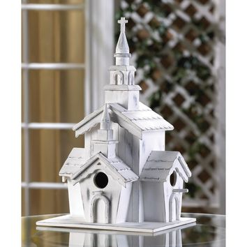 Whitewashed Country Chapel Birdhouse