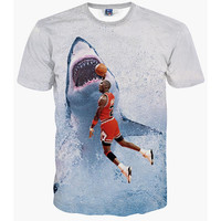 New Fashion Men&'s T-shirt 3d Print Star Jordan Dunk Shark lovely Tees Summer Tops T Shirt
