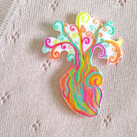 Heart brooch psychedelic neon rainbow anatomical heart pin