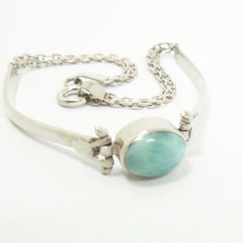 Sterling silver 925 bracelet with bluish green Larimar stone - Made in Italy - Valentine gift Mothers Day gift