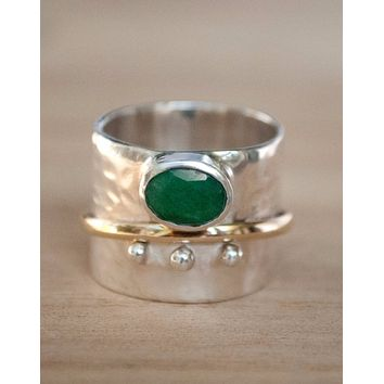 Libby Meditation Ring - Emerald (BJS020)