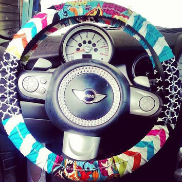 Colorful Paisley Chevron Steering Wheel Cover