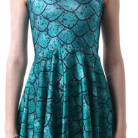 Design 3052 - Green Dragon Scales Pleated Sleeveless Mini Dress