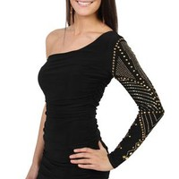 One Shoulder Tight Homecoming Dress with Long Sleeves and Studs
