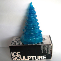 VIntage Mold For Ice Art Ice Sculpture Christmas Tree Mold In Original Box  Measures 9 X 5 Instructions Included