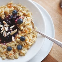 Honey Apricot Millet With Blueberry Compote & Toasted Almonds