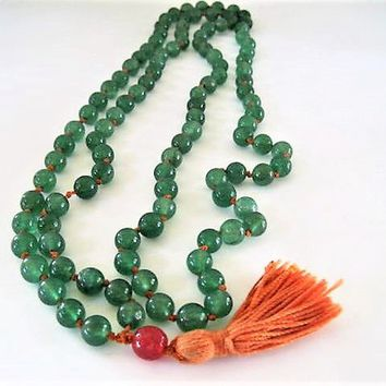 Jade Nephrite Long Necklace, 44 Inches, Chinese Export,  Continuous Strand, Orange Hand Knotted with Orange bead and String Tassel