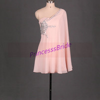 2014 short pearl pink chiffon prom dresses,unique homecoming gowns with rhinestones,cheap chic dress for party hot.