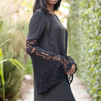 Boho Goddess Lace Bell Sleeve Dress - Black
