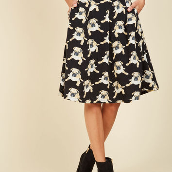 Pugs and Kisses A-Line Skirt | Mod Retro Vintage Skirts | ModCloth.com