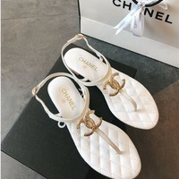 Chanel Fashion Metal Buckle Sandals