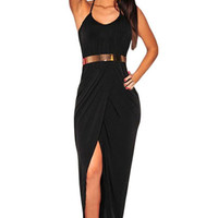 Sexy Halter Draped Gold Belted Black Jersey Maxi Dress