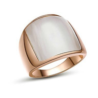 18K White/Roe Gold Plated Opal tone Finger Ring for Man