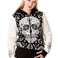 Banned Goth Punk Rock Skull Pentagram Black and White Ladies Hoodie