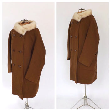 Vintage Jeshiva Original 1950s 60s Olive Brown Wool Coat Mink Fur Collar Outerwear Winter Mad Men Medium Large Peacoat 40s Swing Coat